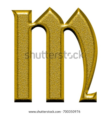 Golden Metallic Rough Chiseled Uppercase Or Capital Letter M In A 3D Illustration With Gold