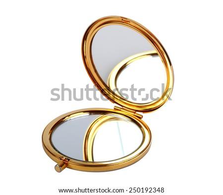 Golden mirror isolated on white - stock photo