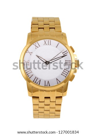 golden modern wrist watch isolated - stock photo