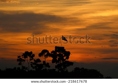 Golden moment after setting sun near Dhaka in Bangladesh - stock photo