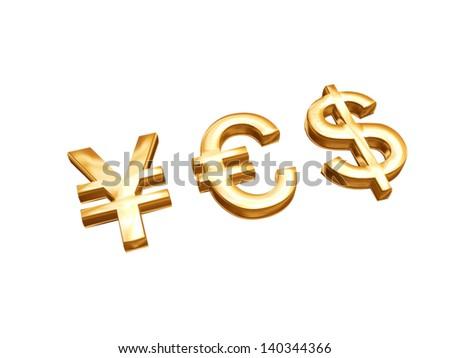 Golden Money Symbols Euro Us Dollar Stock Illustration 140344366