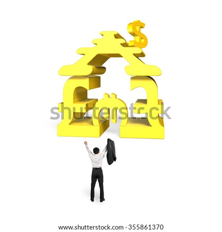 Golden money symbols house shape building with man cheering, isolated on white background. - stock photo