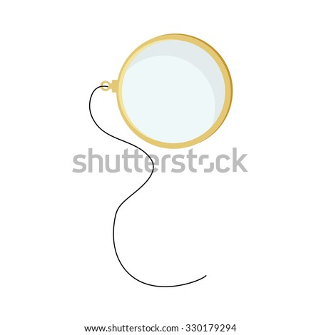 Golden monocle with string raster isolated, hipster style, retro - stock photo