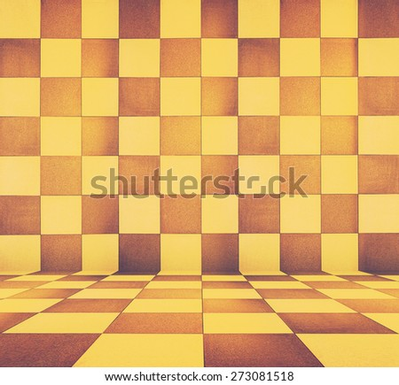 golden mosaic room, gold background, retro filtered, instagram style - stock photo