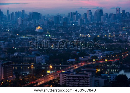 Golden Mount in bangkok cityscape of thailand