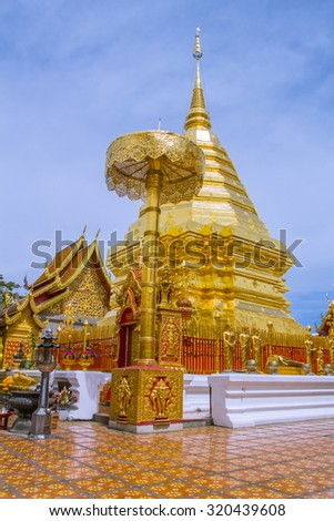 Golden mount of Wat Phra That Doi Suthep, Hdr Toning color style