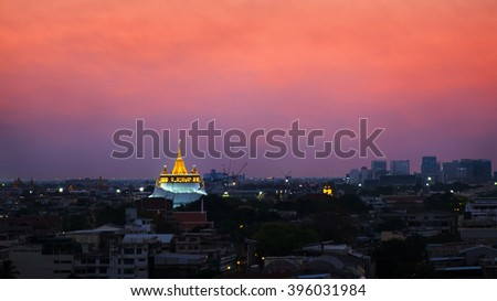 Golden Mount with beautiful sky at  twilight time