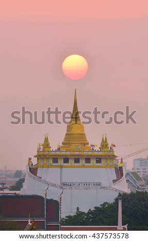 Golden Moutain Temple with sunset in Bangkok ,Thailand - stock photo