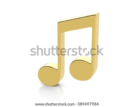 Golden music note symbol on a white background. - stock photo