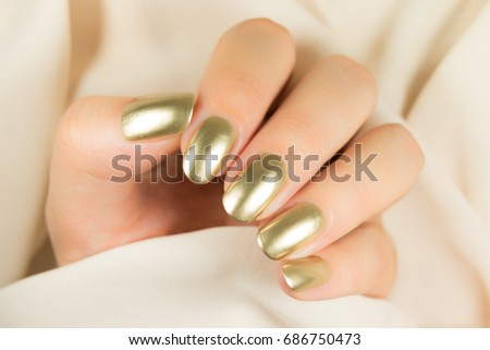 Golden Nail Art Manicure Holiday Style Stock Photo Royalty Free