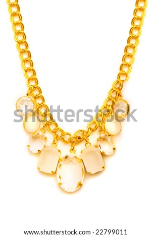Golden necklace isolated on the white background