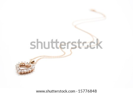 Golden necklace looks like heart