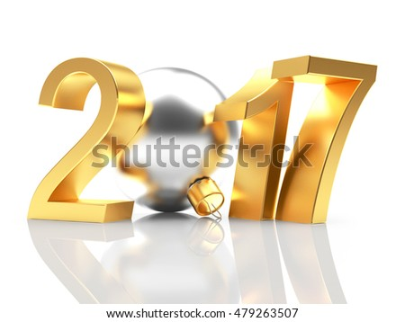 Golden 2017 New Year and silver Christmas ball on white with reflection. 3D illustration