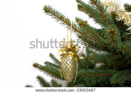 Golden New-Year tree decoration