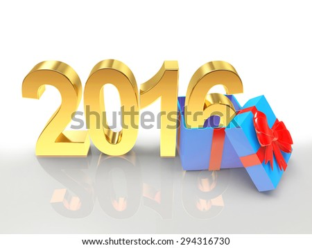 Golden New Year 2016 with gift box isolated on white background
