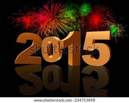 golden new year 2015 with reflection and colorful fireworks - stock photo