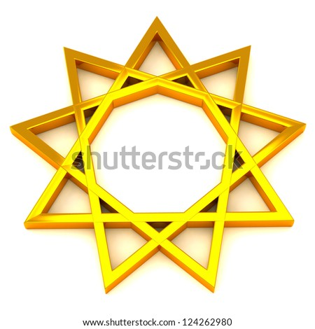 Golden nine pointed star, 3d - stock photo