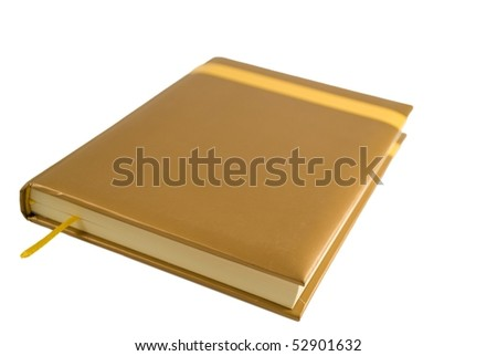 golden notebook isolated on white