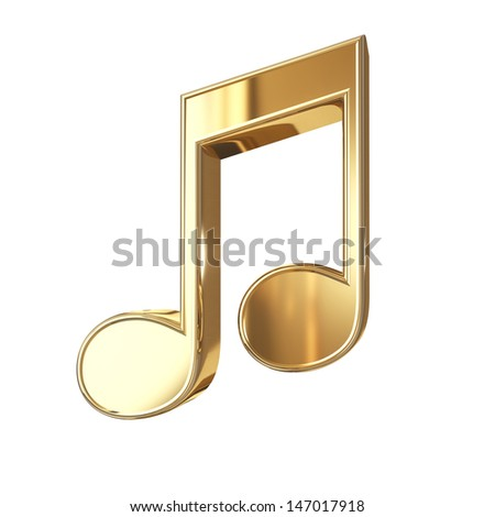 Golden notes symbol with clipping path isolated on white background - stock photo