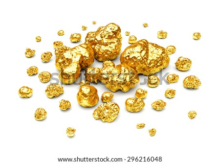 Golden nuggets. Group of gold stones of different size isolated on white background. - stock photo