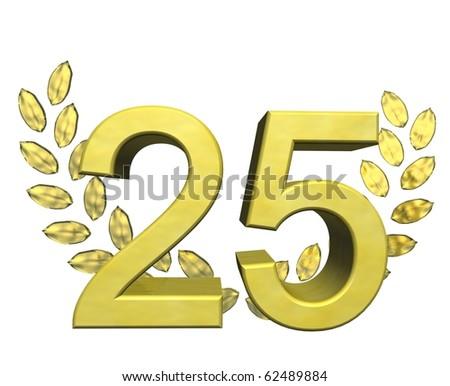 golden number 25 - stock photo
