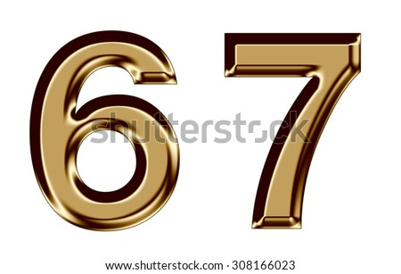 Golden number collection 6,7 on white background