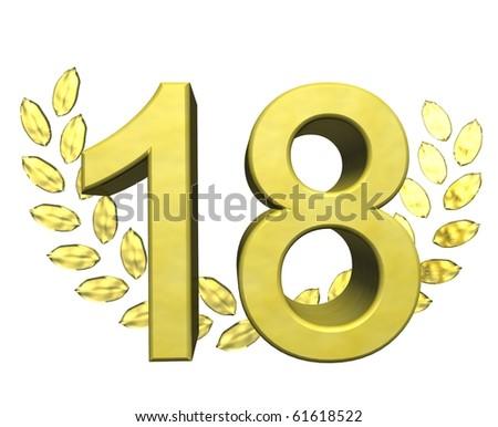 golden number eighteen - stock photo