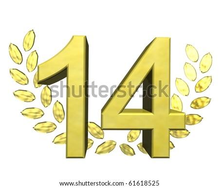 golden number fourteen - stock photo