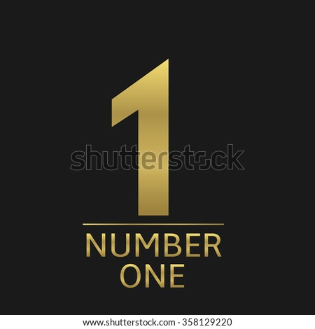 Golden number one icon, champion winner first place symbol Raster illustration - stock photo