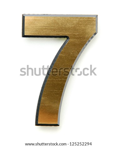 Golden number seven, isolated on white - stock photo