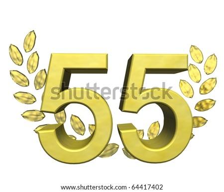 golden number 55 with laurel wreath - stock photo