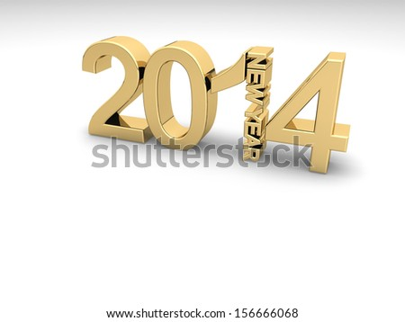 Golden numbers 2014 on a white background