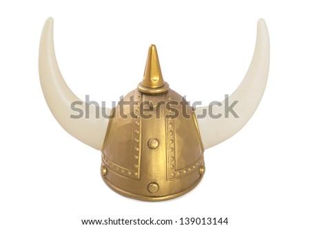 Golden old viking helmet with horns isolated over white - stock photo