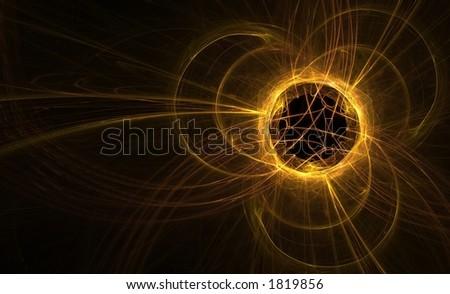 Golden orange fractal sun eclipse - stock photo