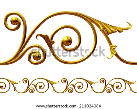 golden ornament element to create a frieze - stock photo