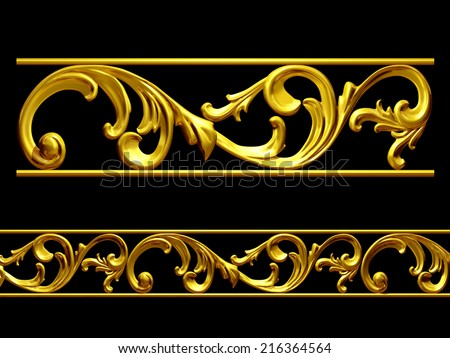 golden ornament, element to create a frieze or frame  - stock photo