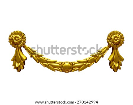 golden ornamental element - stock photo