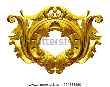 golden ornamental element - stock photo