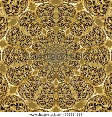 Golden Ornamental Engraving Flowers 02 - stock photo