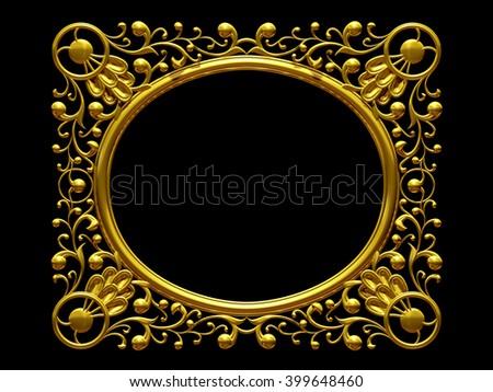 golden ornamental frame. 3d rendering - stock photo
