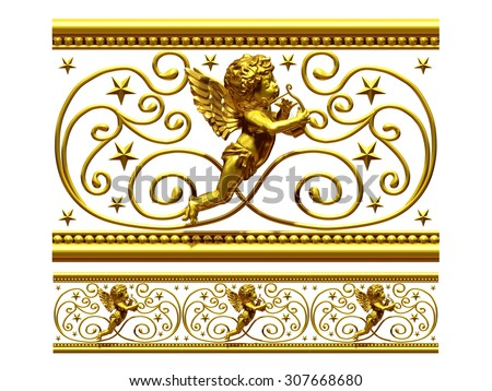 "golden ornamental segment, ""Angel"", straight version for frieze, frame or border - stock photo"