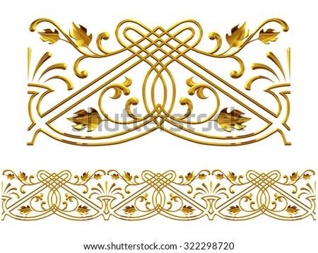 "golden ornamental segment, "" autumn "", straight version for frieze, frame or border - stock photo"
