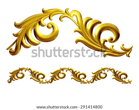 "golden ornamental segment, ""Blatt"", straight version for frieze, frame or border - stock photo"