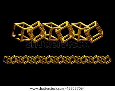 "golden ornamental segment, ""cube"", straight version for frieze or border. 3d illustration - stock photo"