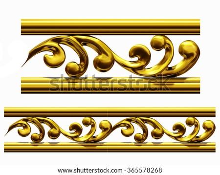 "golden ornamental segment, ""curvy "", straight version for frieze, frame or border - stock photo"