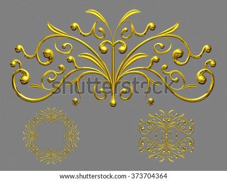 golden ornamental segment for frame, frieze, border or element - stock photo