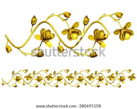 golden ornamental segment for frame, frieze or border  - stock photo