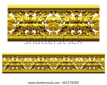 "golden ornamental segment, ""lushy"", straight version for frieze, frame or border.  - stock photo"