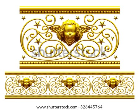 "golden ornamental segment, "" Putto "", straight version for frieze, frame or border - stock photo"