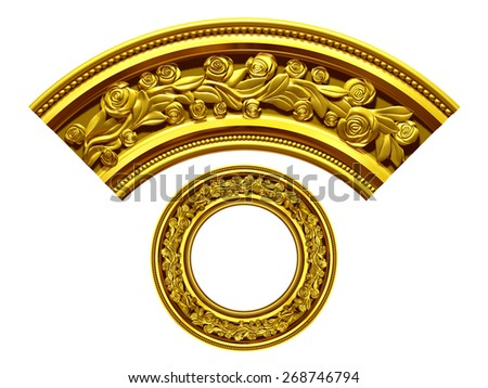 "golden ornamental segment, ""rose"", round version for corner or circle - stock photo"